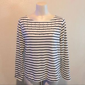 J Crew Striped tee with micro jewels by collar